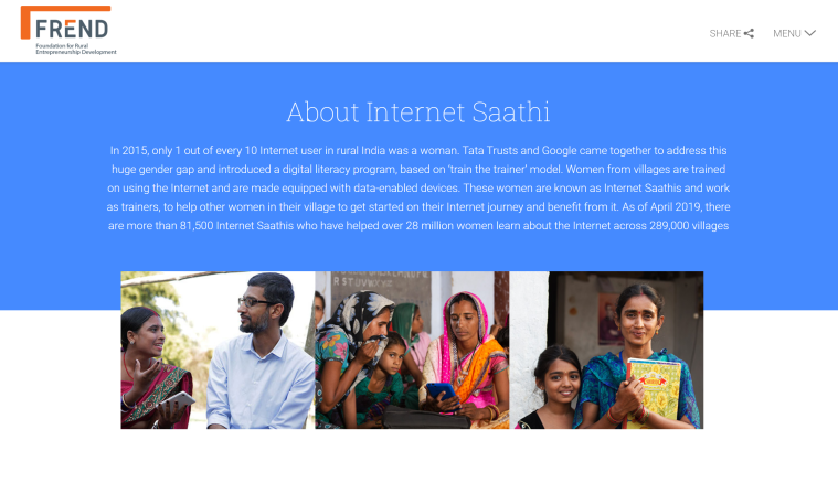 Internet Saathi webpage